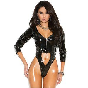 NWT Black Heart High Cut Bodysuit - Small